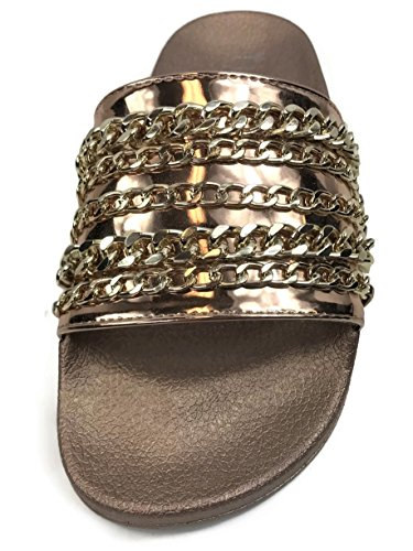 Willow Rose W Wells Flat Slip Collection Gold On Soft Slides Sandal Chain Comfort Women's EqgrvwC4Uq