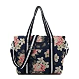 Canvaslife Classic White rose Pattern Waterproof Laptop Tote Bag Canvas Laptop Shoulder Messenger Bag Case Sleeve for 14 Inch 15 Inch Laptop 15 Case Laptop Briefcase 15.6 Inch