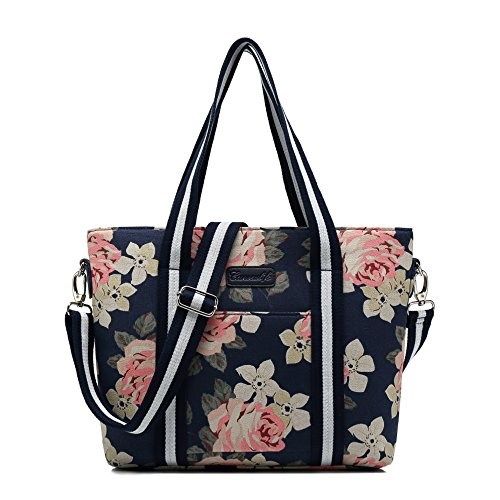 Canvaslife Classic White rose Pattern Waterproof Laptop Tote Bag Canvas Laptop Shoulder Messenger Bag Case Sleeve for 14 Inch 15 Inch Laptop 15 Case Laptop Briefcase 15.6 (Pattern Women Shoulder Bags)