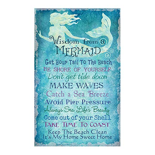 Wisdom From A Mermaid | Mermaid Beach Home Decor Wall Art | Stretched Canvas | Ready To Hang | 16 x 10 - Decor Mermaids
