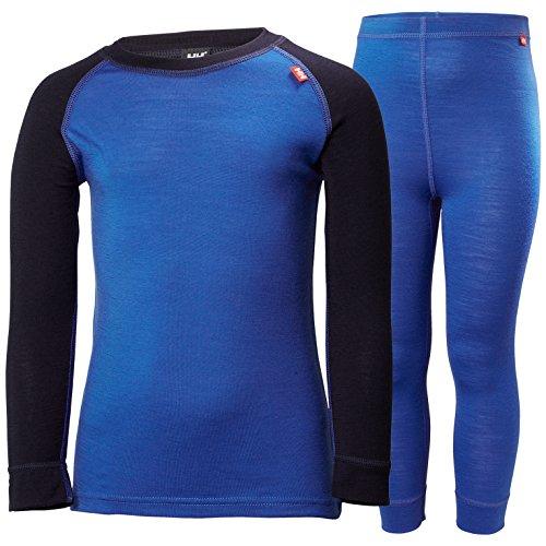 Helly Hansen K Merino Wool Mid Baselayer Set, Olympian Blue, Size 7 (Long Underwear Hansen Helly)