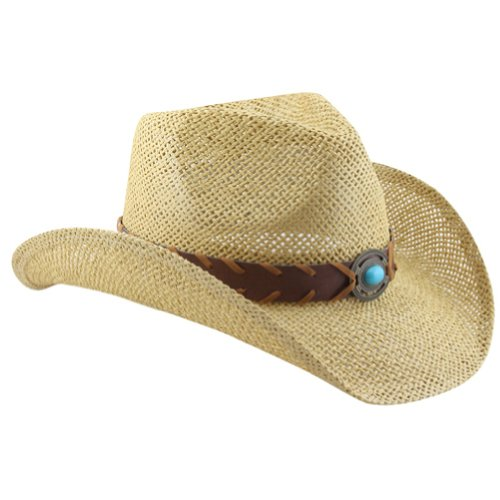 Natural Shapeable Straw Western Cowboy Hat, Vegan Leather Trim W/ Bead Design