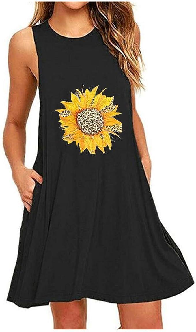 Tank Dress for Women Vintage Floral Sunflower Sleeveless Beach Swing Dress Summer Casual Tshirt Dress With Pocket