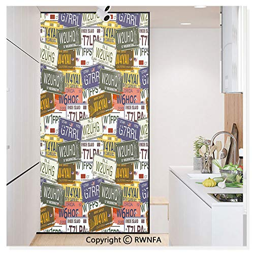 RWN Film Window Films Privacy Glass Sticker Retro American Auto License Plates Utah Washington Rhode Island North Carolina Print Static Decorative Heat Control Anti UV 30In by 59.8In,Multicolor