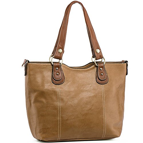 (UTAKE Handbags for Women Top Handle Shoulder Bags PU Leather Tote Purse Meduim Size Camel)