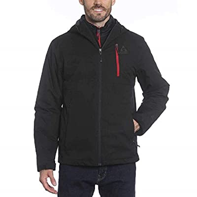 Gerry Men's Tri-Sphere Systems Jacket (Black/Red, XXL) at Men's Clothing store