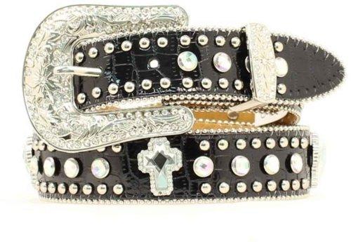 Nocona Girls' Rhinestone Cross Croc Print Leather Belt