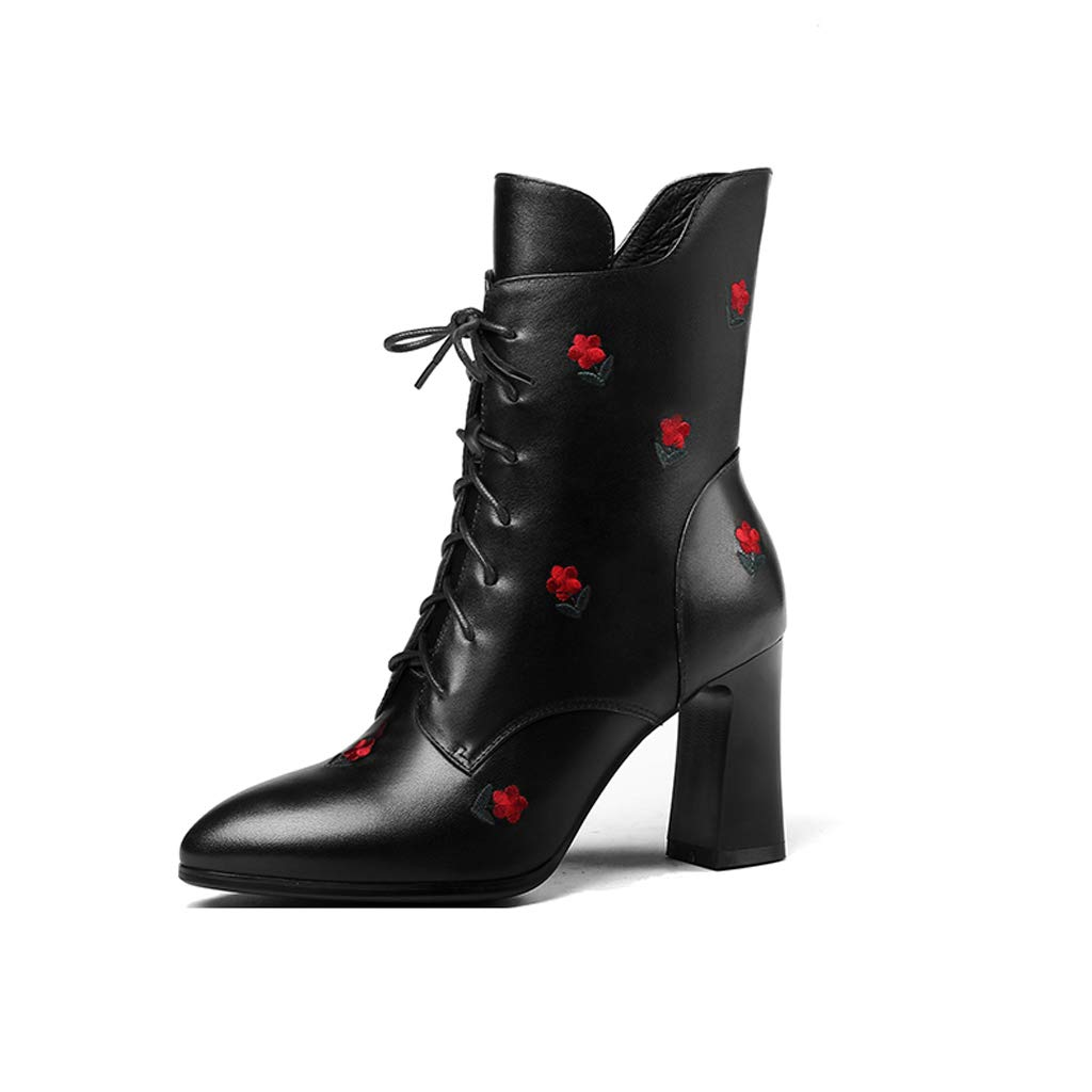 2018 Herbst und Winter Lederstiefel Damen hochhackige Stiefel Martin Spitze Stiefel mit dicken Chelsea Stiefel Damenstiefel (Farbe   B, größe   39)