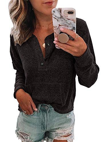 Coutgo Womens Cozy Button Up Henley Sweatshirt V Neck Solid Vintage Long Sleeve Knit Pullover Tops ()