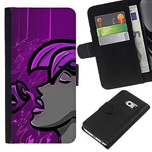 Planetar® Modelo colorido cuero carpeta tirón caso cubierta piel Holster Funda protección Para Samsung Galaxy S6 EDGE / SM-G925(NOT FOR S6!!!) / SM-G925(NOT FOR S6!!!) ( Purple Woman )