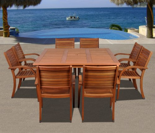 Amazonia Arizona 9 Piece Square Outdoor Dining Set |Super Quality Eucalyptus Wood| Durable and Ideal for Patio and Backyard, Light Brown - Dimensions: this set includes 1 square Table 59W x 59L x 29H and 8 stacking armchairs 23W x 23D x 36H for best storage. VERSATILE DINING SET: 9-Piece patio Dining set is the perfect wood furniture for outdoors and indoors. Ideal for patios, gardens, terraces and poolside. Table has a 2-inch umbrella hole for sunny days EASY ASSEMBLY AND MANTENANCE: Chairs are shipped completely assembled while table require some assembly actions. Product includes a complete maintenance kit for FREE. This kit includes: a wood cleaner, brush, gloves, sponge, emery paper, paint brush, Cotton cloth, and wood sealer oil. Always thinking about durability and best performance - patio-furniture, dining-sets-patio-funiture, patio - 51nT5vgbwqL -