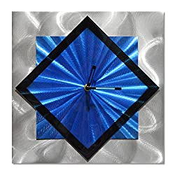 Diagonal Clock Metal Wall Art - Blue Functioning Clock of 12 x 12 is The Perfect Abstract Wall Hangings for Kitchens