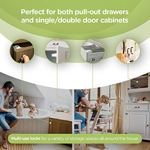 Child Safety Magnet Locks (12-Pack) Best Baby Proofing Lock for Kitchen Cabinet, Drawer, Cupboard - No Tool or Drill with 3M Adhesive, Cabinets Door Locking, Magnetic Latches Kit by Skyla Homes