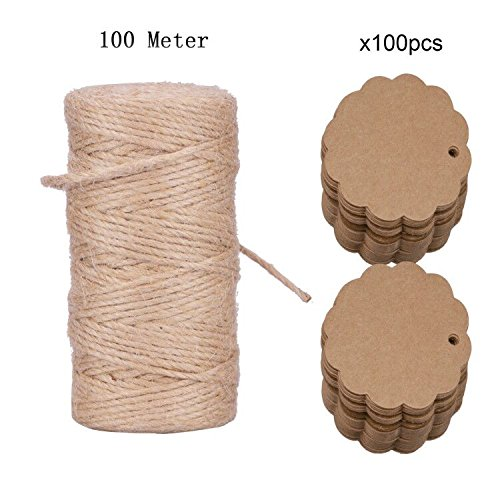 Jute Twine,KAKOO 328 Feet Natural Jute Rope and 100 Pcs Brown Flower Kraft Paper for Wedding Christmas Gift Box and Home Decor DIY Arts - String Glasses Name