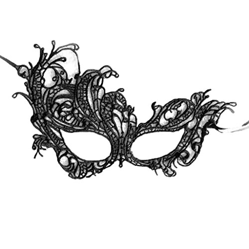 Colorful House Womens Masquerade Halloween Party Lace Eye Mask(Phoenxi, Black)