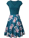 Laksmi Elegant Dresses, Womens Casual Dress A Line Cap Sleeve V Neck (X-Large, Multicolor Cyan)