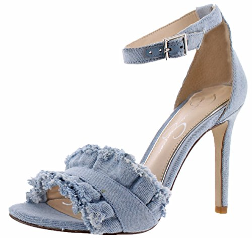Jessica Simpson Women's Silea Vintage Blue Denim Sandal (Womens Simpson Blue Sandal Jessica)