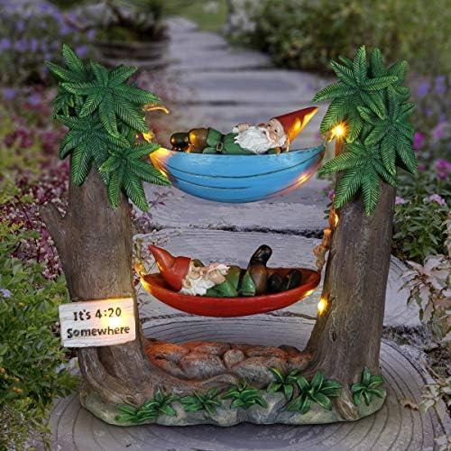 Exhart Solar Good Time Tokin' Gnomie Marijuana Smoking Gnomes on Hammocks
