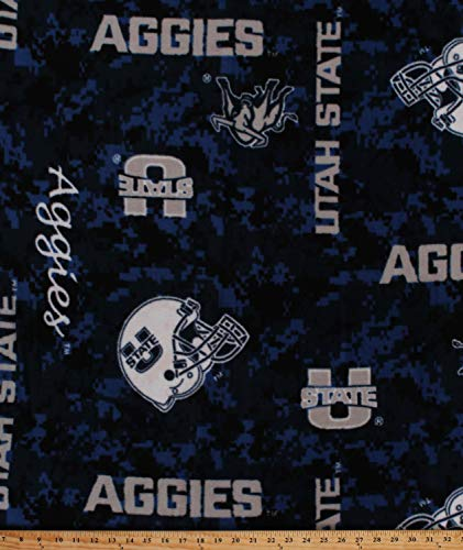 - Fleece University of Utah State Aggies Digital Camouflage Blue College Fleece Fabric Print by The Yard (A503.63)