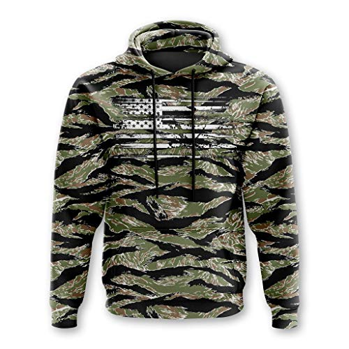 Tactical Pro Supply Army American Camo Flag Hoodie (Tiger Camo, Large) ()