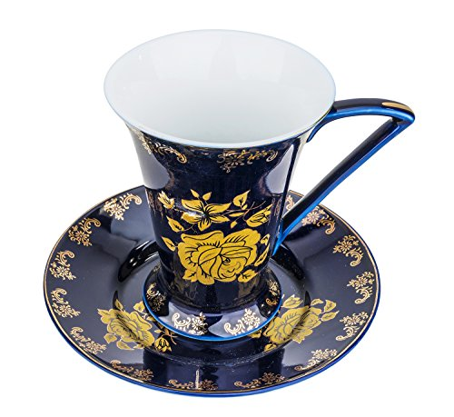 "Fine Porcelain ""Blue Night"" Espresso Cup and Saucer Set,"