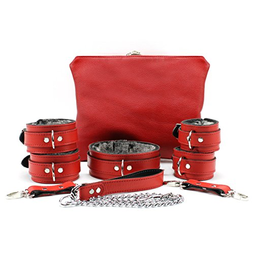 Bonn Set Handmade Full Grain Leather Collar Wrist Cuffs Ankle Cuffs Chain Leash (Red) by VP Leather