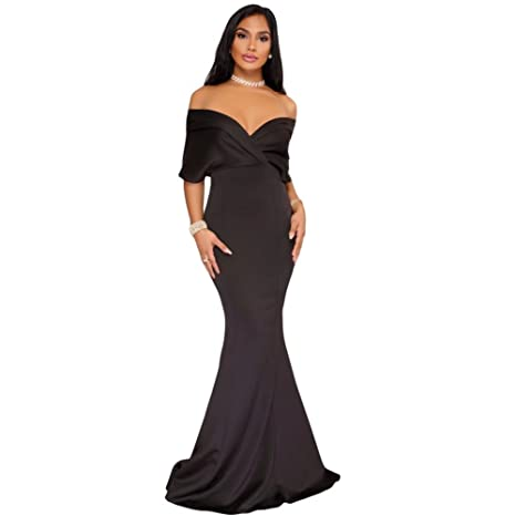 Joansam Womens Off Shoulder Evening Maxi Dress Wrap Mermaid Formal Prom Growns JS61944B-L: Amazon.co.uk: Clothing