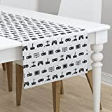 Table Runner - Video Game Pattern Black and White Vintage Retro Fun Gaming by Cloudycapevintage - Cotton Sateen Table Runner 16 x 90