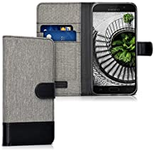 kwmobile Wallet case Canvas Cover for Samsung Galaxy A5 (2017) - Flip case with Card Slot and Stand in Grey Black