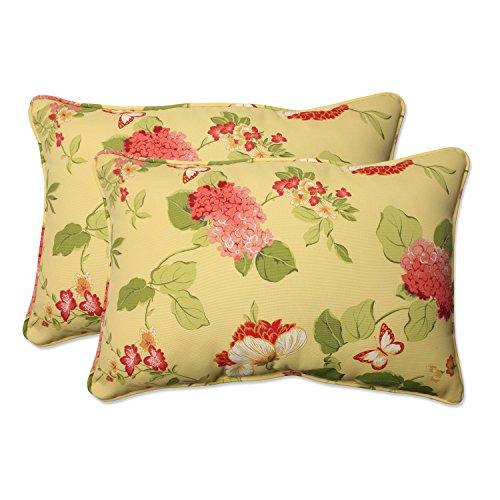(Pillow Perfect Outdoor Risa Corded Oversized Rectangular Throw Pillow, Lemonade, Set of 2)