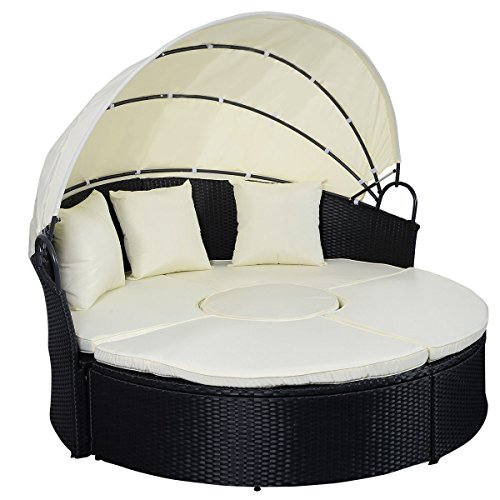 Tangkula Daybed Patio Sofa Furniture Round Retractable Canopy Wicker Rattan Outdoor (Furniture Patio Bed)