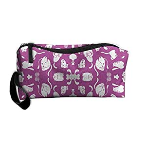 Travel Makeup Kitty Purple Stamped Cosmetic Case Organizer Portable Artist Storage Bag Toiletry Jewelry Pen Holder Stationery Pencil Pouch