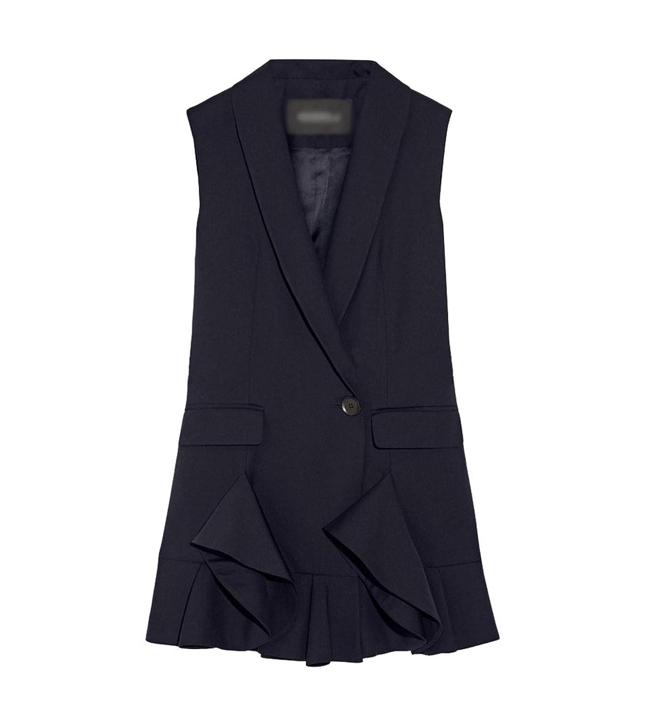 6892d59a75b14f zum Verkauf CHENGYANG Damen Anzug Kragen Ärmellos Jacke Lotus Leaf Kleid  Stil Weste