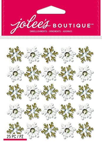 Jolee's Boutique 50-21895 Repeat Xms15 Snow Flake, Gold/White (Boutique Snowflakes Jolees)