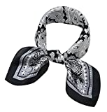 Women's Small Square 100% Real Mulberry Silk Scarfs Scarves 21'' x 21'' Paisley White and Black