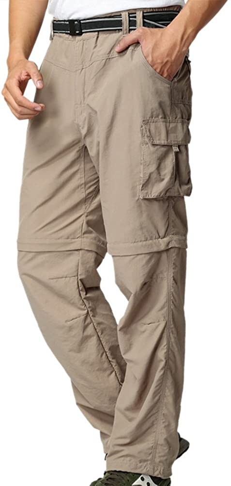 Mens Hiking Pants Convertible Quick Dry Lightweight Zip Off Outdoor Fishing Travel Safari Pants