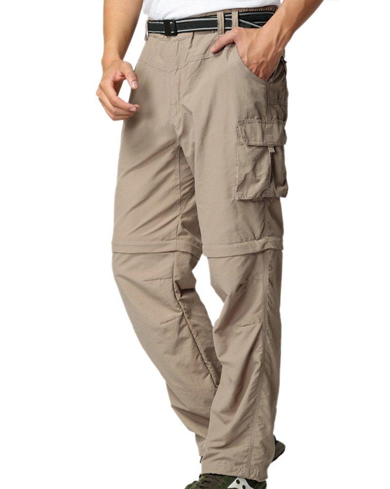 Men's Outdoor Anytime Quick Dry Convertible Lightweight Hiking Fishing Zip Off Cargo Work Pant #225,Khaki,S 32 by Jessie Kidden