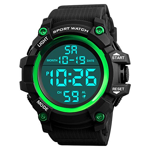 (XBKPLO Mens Digital Watch,Sport Multifunction Waterproof Military JP Movement Analog Wrist LED Alarm Clock Watches Concise Silicone)
