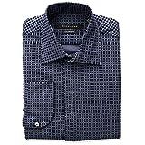 Sean John Men's Tailored Fit Flocked Square Spread Collar Dress Shirt, Night Blue, 17.5