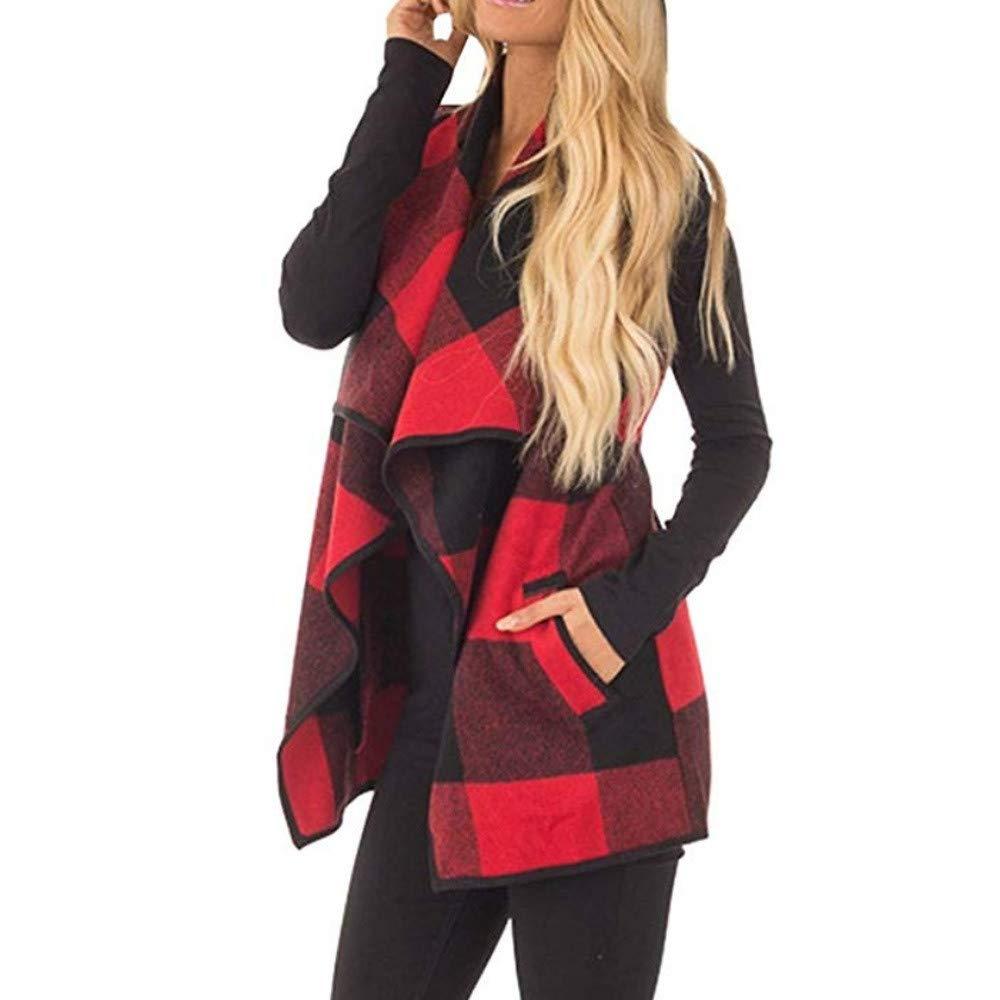 Rovinci_Women Plaid Waterfall Collar Vest Lattice Woolen Coat Keep Warm Cardigan Irregular Hem Coat Sleeveless Jacket
