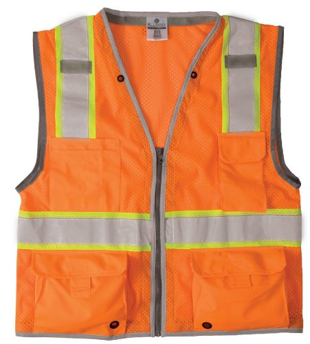ML Kishigo 1511 Ultra-Cool Polyester Brilliant Series Heavy Duty Vest, Large, Orange