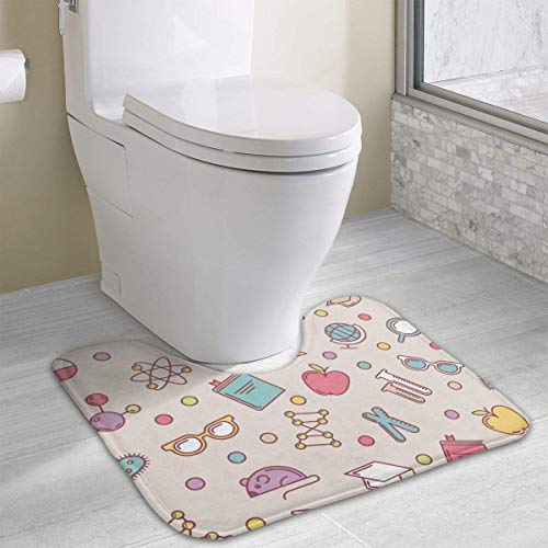 Bennett11 Illustrations of Science U-Shaped Toilet Floor Rug Non-Slip Toilet Carpets Bathroom Carpet 19.2″x15.7″
