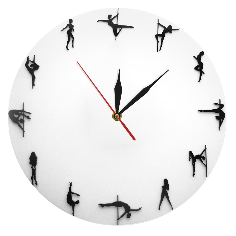 QUTICL Überspringen stehlen Rohr Tanz Wanduhr Pole Dance Clock Wall Art Pole Silhouette Wanduhr