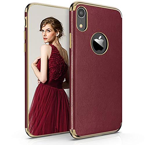 (LOHASIC iPhone XR Case for Women, Premium Leather Luxury PU Soft Thin Slim-Fit Stylish Shockproof Flexible TPU Hybrid Bumper Girls Phone Protective Cover Cases for iPhone XR (2018) 6.1 inch (Burgundy))