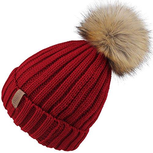 Kids Beanie Red (Kids Winter Knitted Pom Beanie Bobble Hat Faux Fur Ball Pom Pom Cap Unisex Kids Beanie Hat,Wine Red,One Size)
