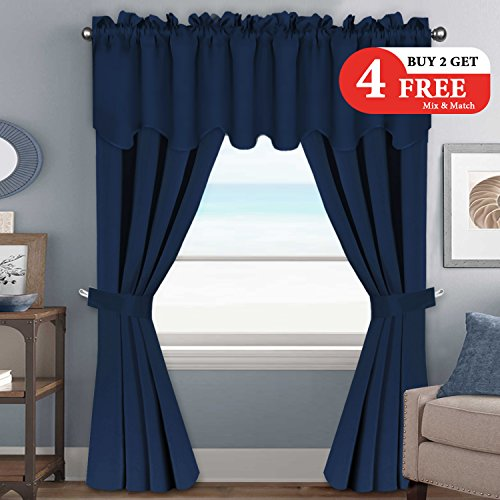 Blackout Draperies Curtains Panels (Set of 6 Piece) - Window Treatment Thermal Insulated Grommet Curtains / Drapes for Living Room (2 Panels of 52 by 96 - Inch, 2 Valances, 2 Tie Backs, Navy) (Suede Set Living Room)