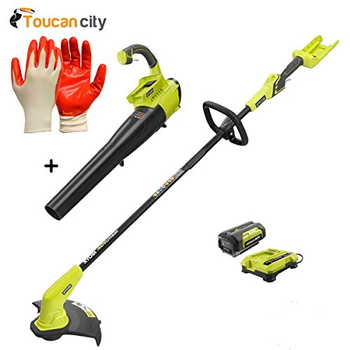 Ryobi 40-Volt Lithium-Ion Cordless String Trimmer and Jet Fan Blower Combo Kit - 2.6 Ah Battery and Charger Included RY40411-2i and Toucan City Nitrile Dip Gloves(5-Pack)