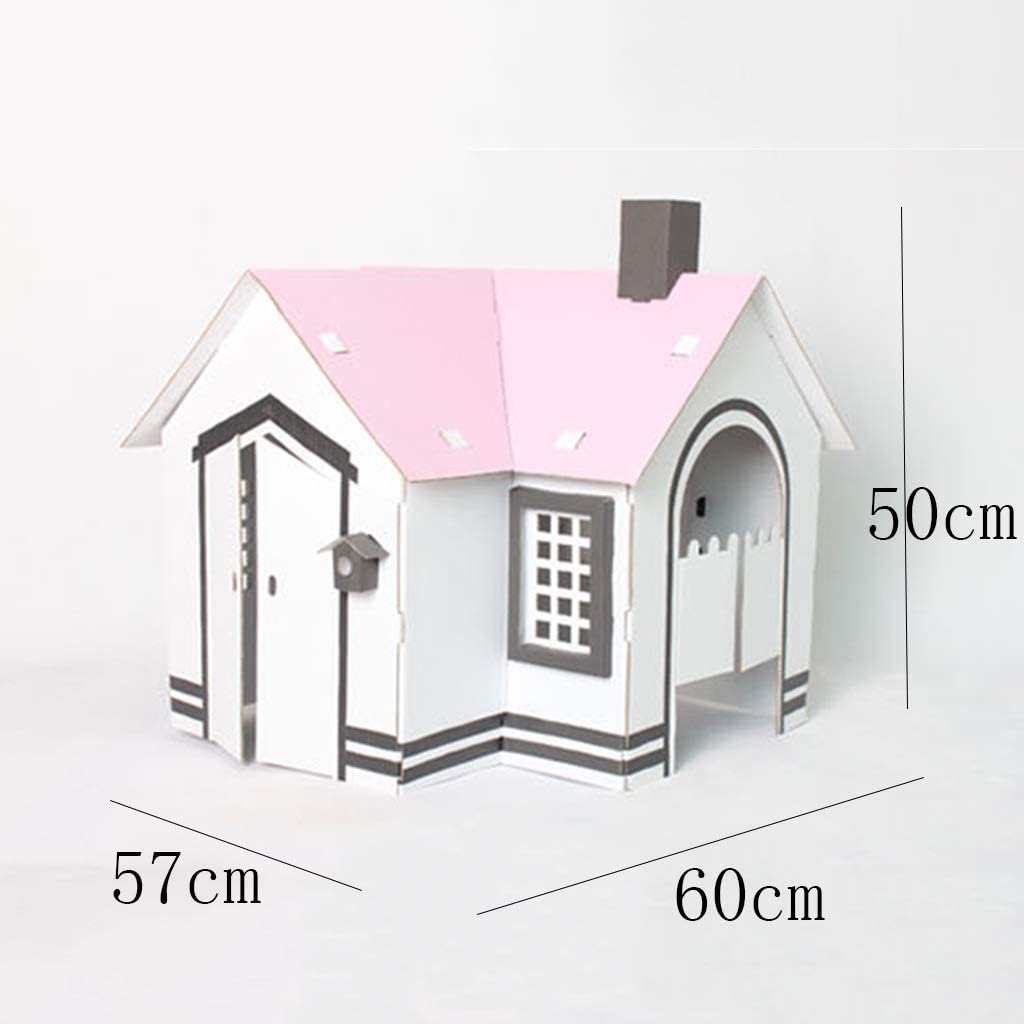 Color : White, Size : 60 * 57 * 50cm Play Tents Small White Cardboard House Can Be Assembled Game House Cardboard Handmade Diy Childrens Educational Toys Carton Villa Gift