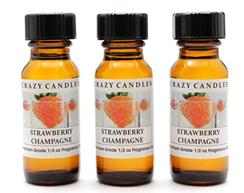 15 Bottle Strawberry - Strawberry Champagne 3 Bottles 1/2 FL Oz Each (15ml) Premium Grade Scented Fragrance Oil by Crazy Candles