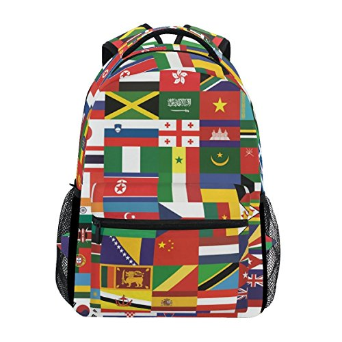 School Backpacks World Flags Student Backpack Big for Girls ()